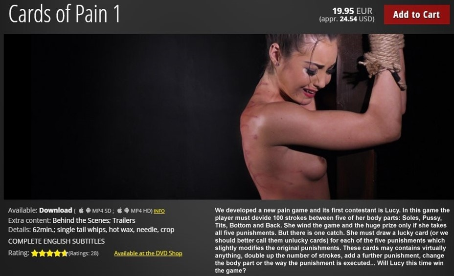 [HD] Cards of Pain 01 Lucy - ElitePain.com-01:01:09 | BDSM, Spanking, Pain, Whipping, Torture, Humiliation - 1,8 GB