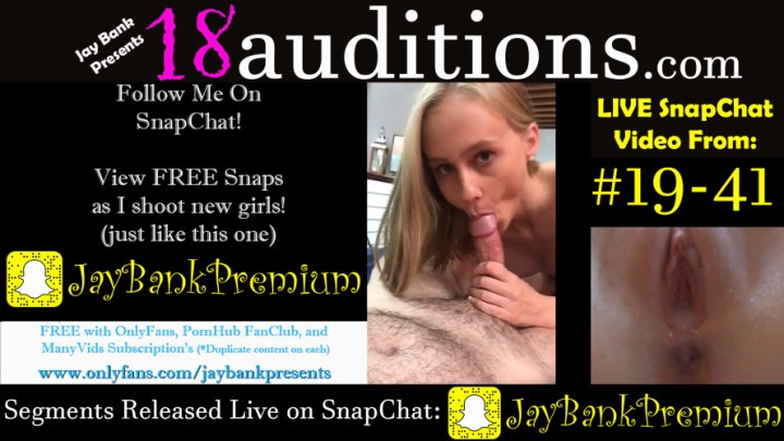 [Full HD] Jay Bank Presents 19 41 Live Snapchat Premium 18Auditions Jay Bank Presents - ManyVids-00:03:42 | Behind The Scene,Cream Pie,Creampie,Live Cams,Teens (18+) - 310,6 MB