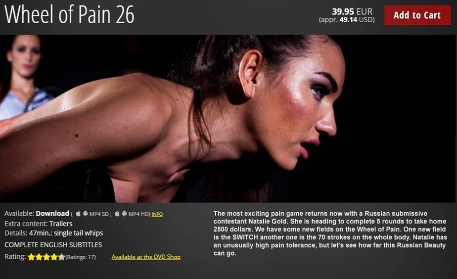 [HD] Wheel of Pain 26 Nataly Gold - ElitePain.com-00:47:16 | Whipping, Spanking, Humiliation, Pain, Torture, BDSM - 1,4 GB