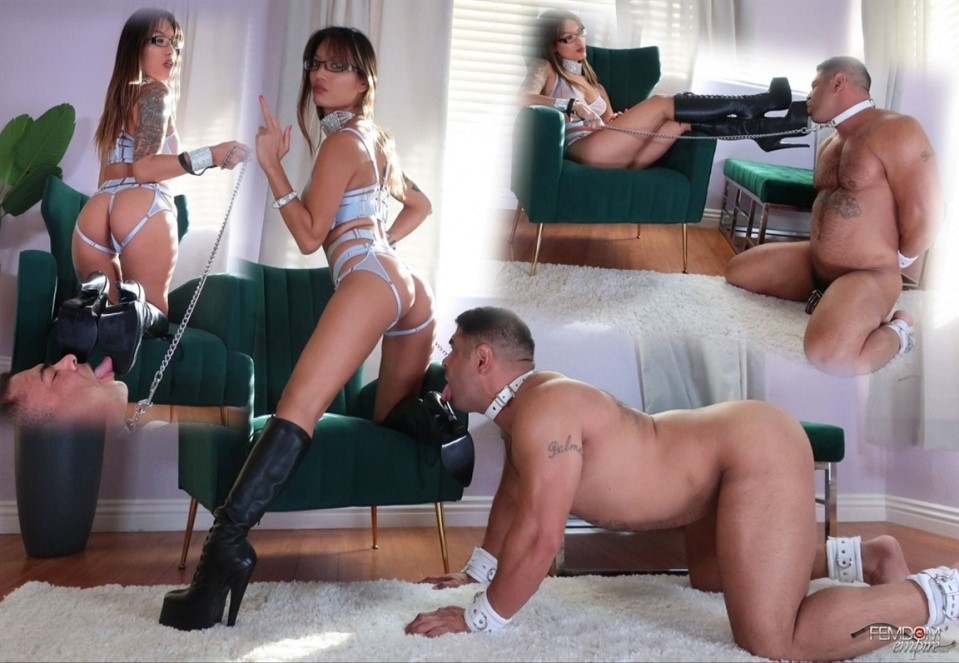 [Full HD] Asia Perez - Boot Slave Tease Asia Perez - FemdomEmpire.com-00:12:12 | Boot Licking, Femdom, Humiliation, Chastity, Lingerie, Boot Worship - 886,5 MB