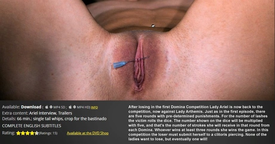 [HD] Domina Competition 2 Ariel ,  Arthemis - ElitePain.com-01:33:23 | Spanking ,  Needles ,  Pain ,  Whipping ,  Torture ,  Humiliation ,  BDSM - 2 GB