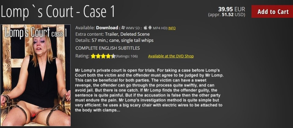 [HD] Lomps Court - Case 1 Mix - Mood-Pictures-00:57:10 | Torture, Bondage, BDSM, Punishment, Tears, Spanking, Humiliation, Whipping, Caning - 1,6 GB