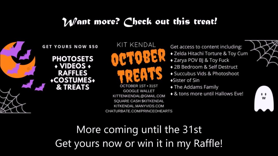[Full HD] Kit Kendal Free October Treats Bundle Preview Kit Kendal - ManyVids-00:03:00 | Cosplay, Halloween, Blowjob, Daddy Roleplay, Public Outdoor - 113,6 MB